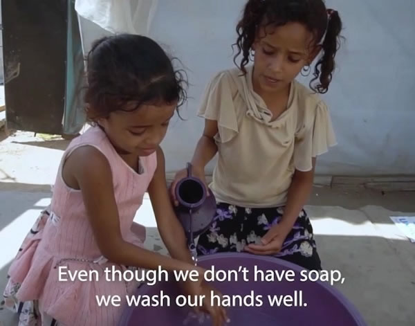 Even though we don't hava soap, we wash our hands well